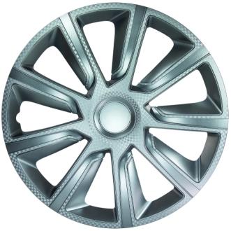 """Veron Carbon Silver 13"""" hjulkapsler 4 stk sæt"""